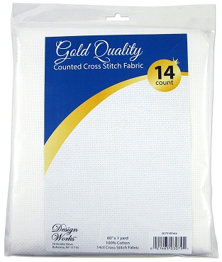 White 14 Ct Aida Count Cross Stitch Fabric Gold Quality 1 Yard